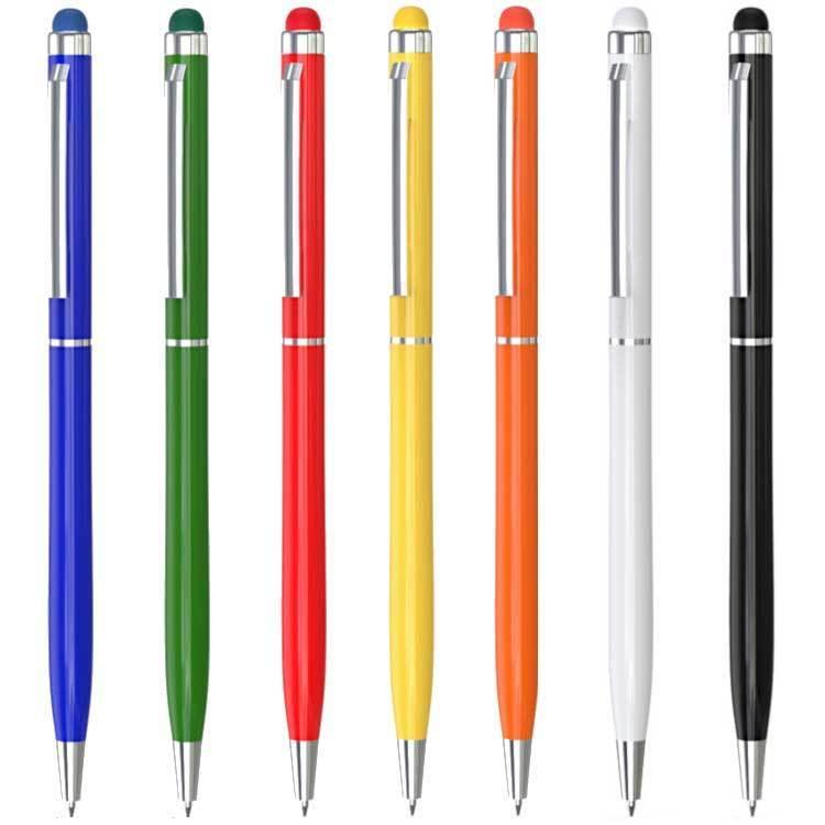 Schlanker Kugelschreiber schwarz aus Metall Farbe